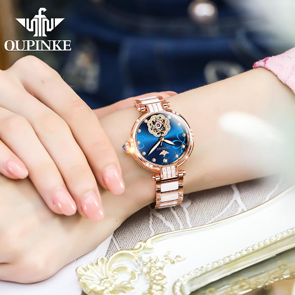 2020 New OUPINKE Top Brand Ladies Fashion Watch Lucky Goddess Automatic Flash Diamond Watch Stainless Steel Ceramic Strap Watch 3