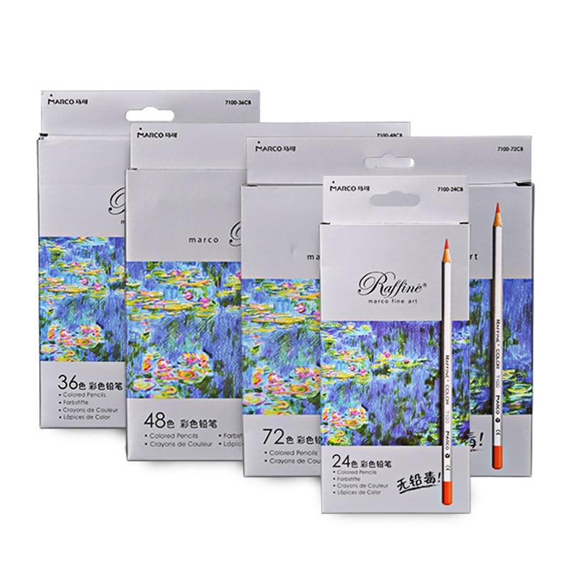 24 цвета бумажная коробка Марко 7100 Профессиональный окрашивающий карандаш для рисования 24 48 36 72 Цвет масло цвет свинцовая железная