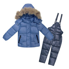3~7Y Russian Snowsuit Children Sets Kids Down Jaket Boys Waterproof Clothing Ski Suit Winter For Toddler Girl