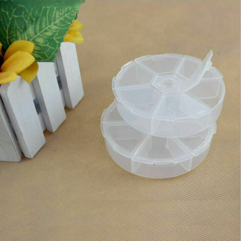 HOT 6 Round Compartment Storage Box Transparent PP Plastic Box Small Component Jewelry Tool Box Bead Pills Objects Organizer