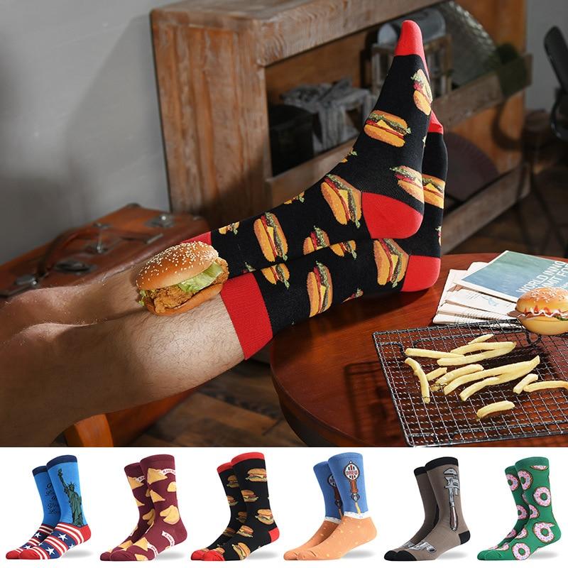 1Pair Male Crew Socks Men Casual Socks Cotton Fashion Creative Food Funny Cute Male Socks Mid Length Stockings Hamburg Fries Pie