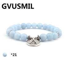 GVUSMIL New Design Blue Natural Stone Women`s Bracelet  Trendy Vintage Jewelry