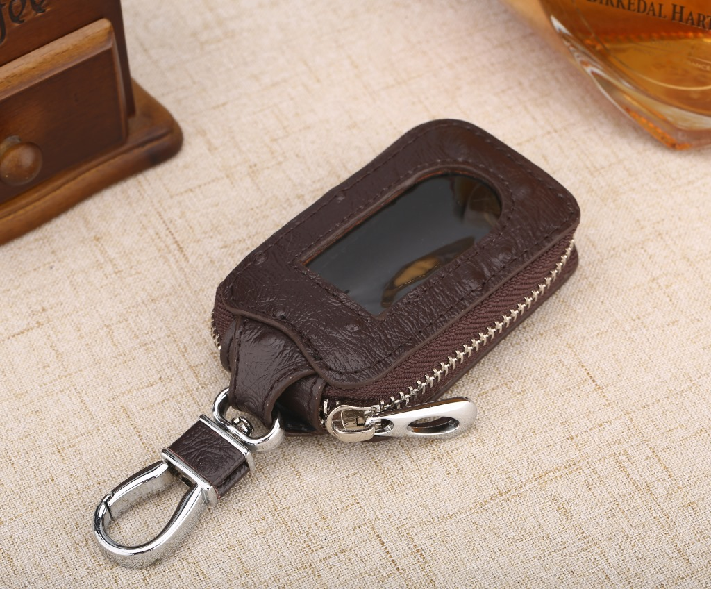 Fashion Real Cowhide Zipper Square Women's Home Car Key Ring Box Transparent Window Key Pocket Wallet Keychain