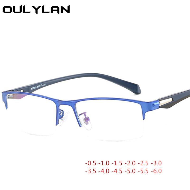 Oulylan Metal medio marco gafas graduadas para miopía mujeres hombres miopía estudiante dioptrías-1,5-2,0-2,5-3,0-3,5-4,0-4,5-5,0--