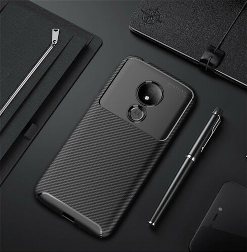 For Motorola Moto G7 Plus Carbon Fiber Shockproof Bumper Soft TPU Back Cover For Moto G7 Power G7 Play Rubber Silicone Case Capa