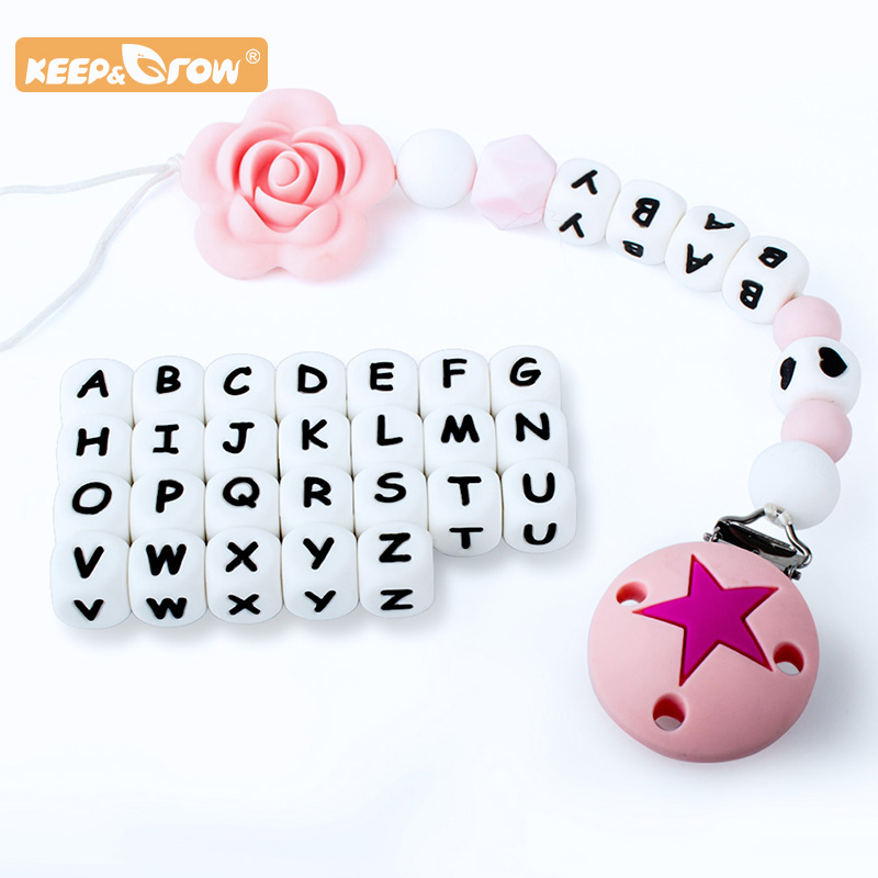 Keep&Grow 10pcs 12mm English Alphabet Silicone Letter Bead Rodent DIY Baby Teether Toy Necklace Food Grade Silicone Beads
