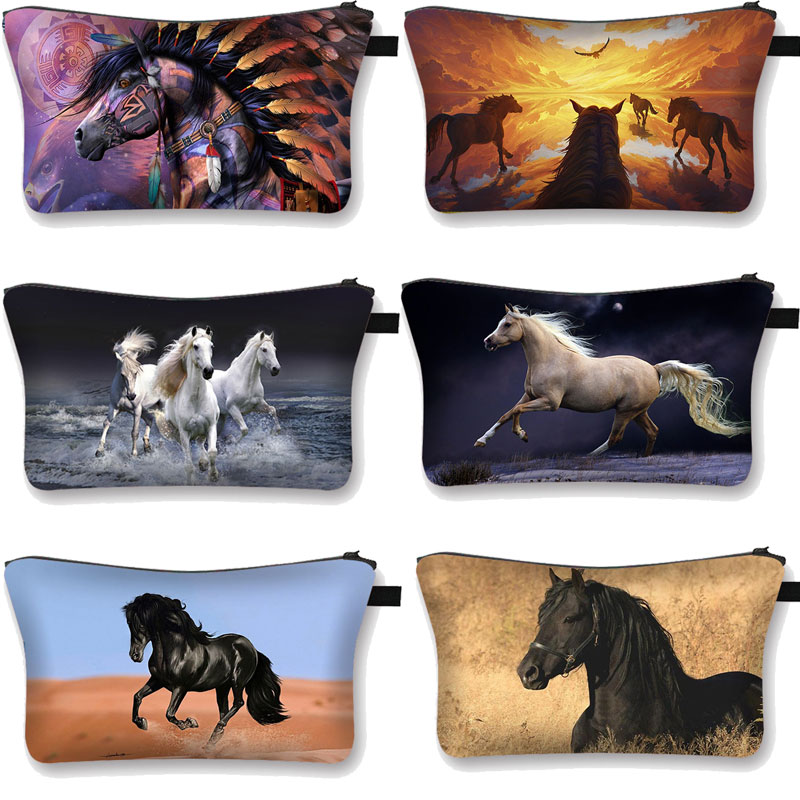 Animal Horse / Pony Print  Pattern Women's Cosmetic Bag Girls Make Up Bag Cosmetic Case Ladies Trave Organizers Bag Makeup Box