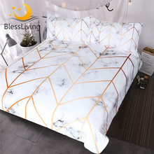 BlessLiving Marble Texture Bedding Set Black White Golden Duvet Cover 3-Piece Stylish Bed Nature Inspired Bedclothes