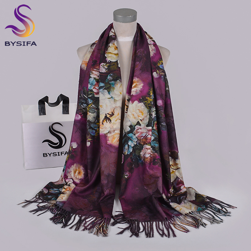 [BYSIFA] Purple Roses Women Scarves Shawl For WInter New Design Warm Long Cashmere Pashmina Double Faces Ladies Scarves Wraps
