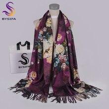 BYSIFA bufandas moradas para mujer, chal, nuevo diseño, cachemir largo, Pashmina, doble cara, para invierno