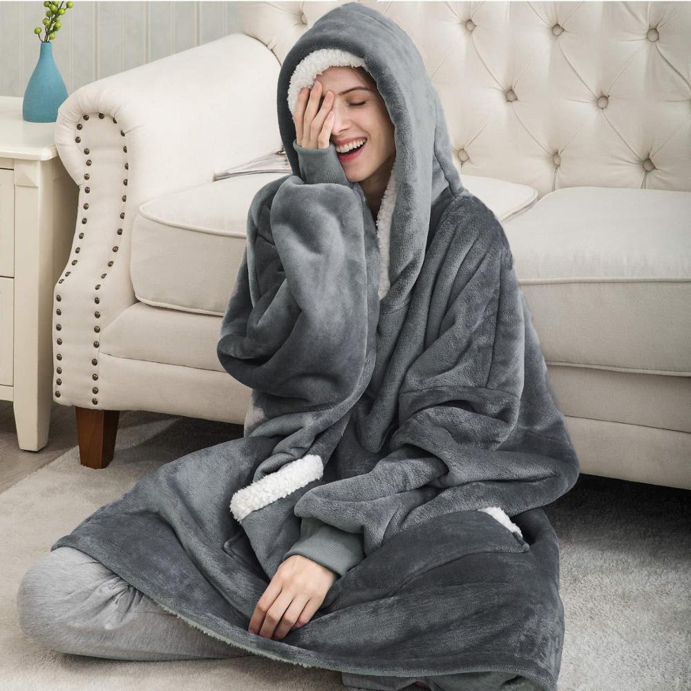 Permalink to Winter Hoodie Blanket Women Long Sweatshirt Warm TV Blanket Fleece Plush Hooded Oversized Hoodie With Pocket Sudaderas Mujer