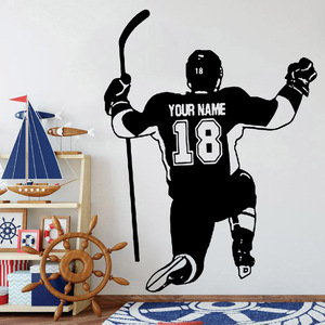 Hockey Player Wall Decals Personalized Name and Number Boys Room Decoration Vinyl Wall Stickers School Dormitory Art Decor Y992