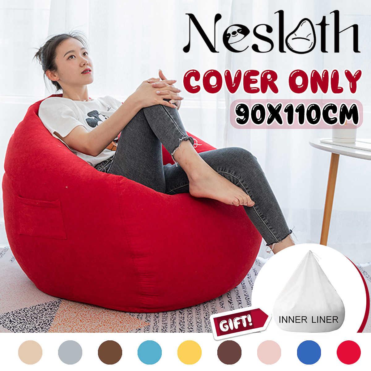 Tremendous 2Pcs Set Lazy Beanbag Sofas Cover Inner Liner No Filler Machost Co Dining Chair Design Ideas Machostcouk