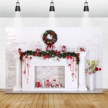 Laeacco Рождество камин Свечи кирпичная стена фото Фоны винил