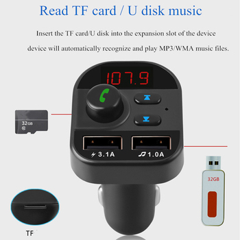 Double USB Car Charger Car Bluetooth MP3 Player FM Transmitter Receiver Handsfree Call Support TF image