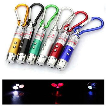 New 3 In 1 Red Laser Pen 1MW 650nm Continuous Wave Mini Led Flashlight Beam Light Pointer Teaching Cat Training Laser Pen image