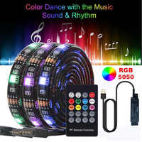 SMD 5050 USB LED Music Control Strip Light RGB Flexible Tape Ribbon String Lamp with 20 Keys RF Controller