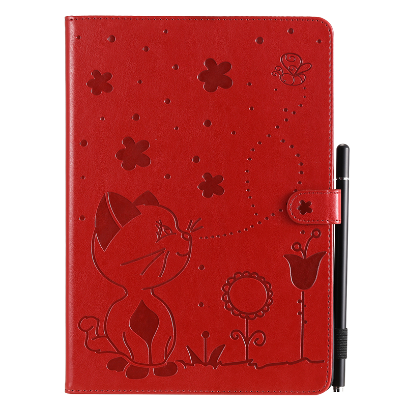 Red Black For Apple iPad 10 2 inch 2019 Case Cartoon Cat Embossing Leather Cover For iPad 10