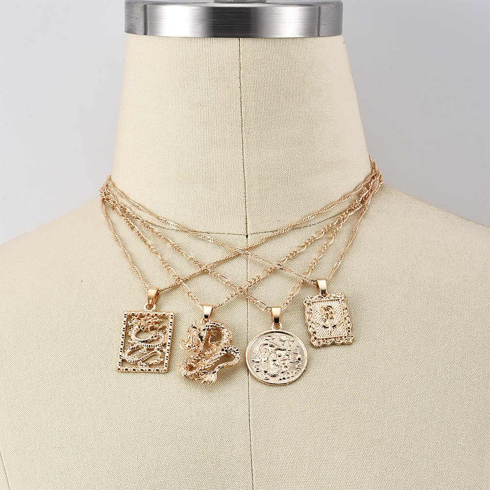 Alyxuy 여성을위한 새로운 패션 드래곤 펜던트 목걸이 골드 컬러 로즈 초커 목걸이 마스코트 장식품 보석 행운의 상징 선물