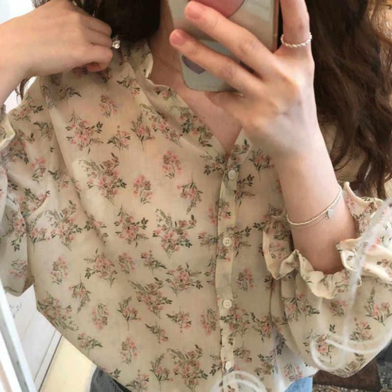 Gömlek kadın çiçek baskı v yaka Ins Ulzzang şifon tatlı zarif kadın şifon tunik üst yaz tatili Streetwear 3XL günlük