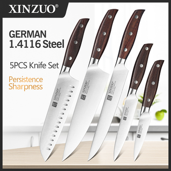 XINZUO High Quality 3.5+5+8+8+8inch Paring Utility Cleaver Chef Bread Knife Germany 1.4116 Stainless Steel Kitchen Sets