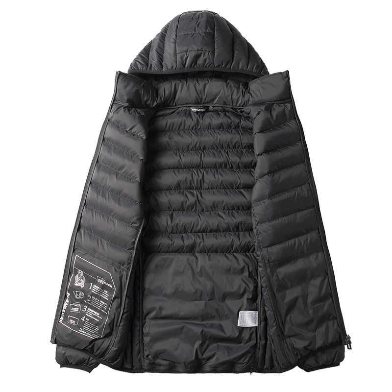 Warme Einfarbig männer Mäntel 2019 ein Mantel, Die Gefaltet Werden Kann in eine Reise Kissen Winter Männer Parka jacke Hohe Qualität Parkas