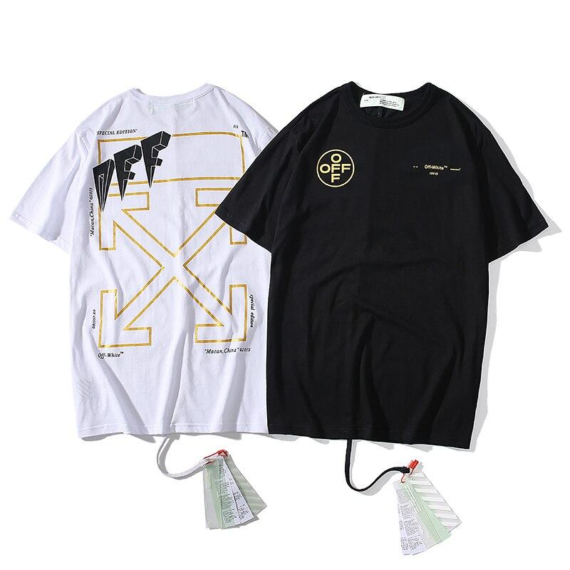European American alphabet arrow 19ss Off-White OW Men/Women Fashion Lovers models Cotton Casual Short sleeve Round neck T-shirt