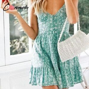 Image 4 - Conmoto ראפלס ספגטי רצועה ירוק נשים שמלות כפתור נשי חוף קיץ 2019 שמלת מיני סקסי שמלת Vestidos