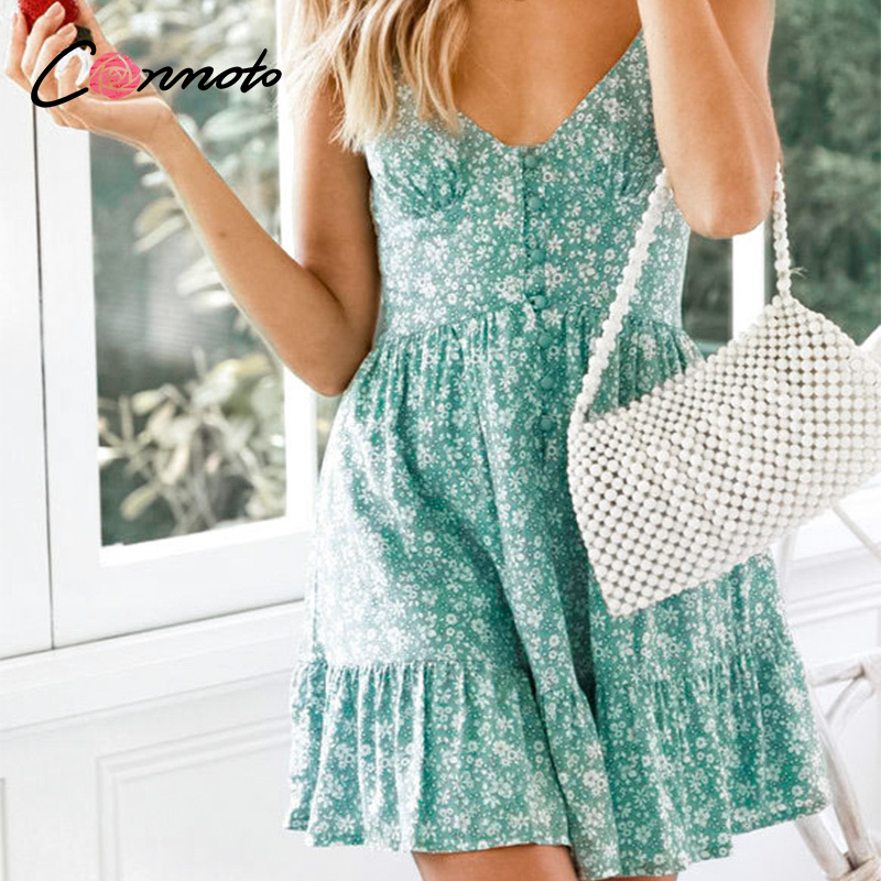 Image 4 - Conmoto Ruffles Spaghetti Strap Green Women Dresses Button Female Beach Summer 2019 Dress Mini Sexy Dress VestidosDresses   -