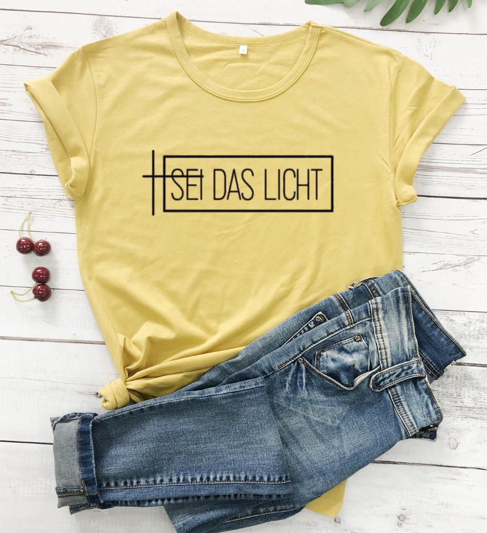 SEI <font><b>DAS</b></font> LICHT <font><b>t</b></font> hemd frauen mode baumwolle casual religion Christian tumblr reine beiläufige party hipster tees youngs tops-l156 image