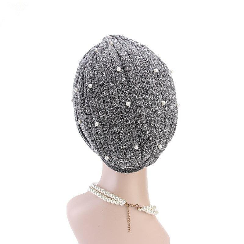 Image 5 - Helisopus 2020 Fashion Women Muslim Shiny Pearls Beaded Mesh  Headwrap Hair Lose Turban Headwear Cap for Women Hair  AccessoriesWomens Hair Accessories