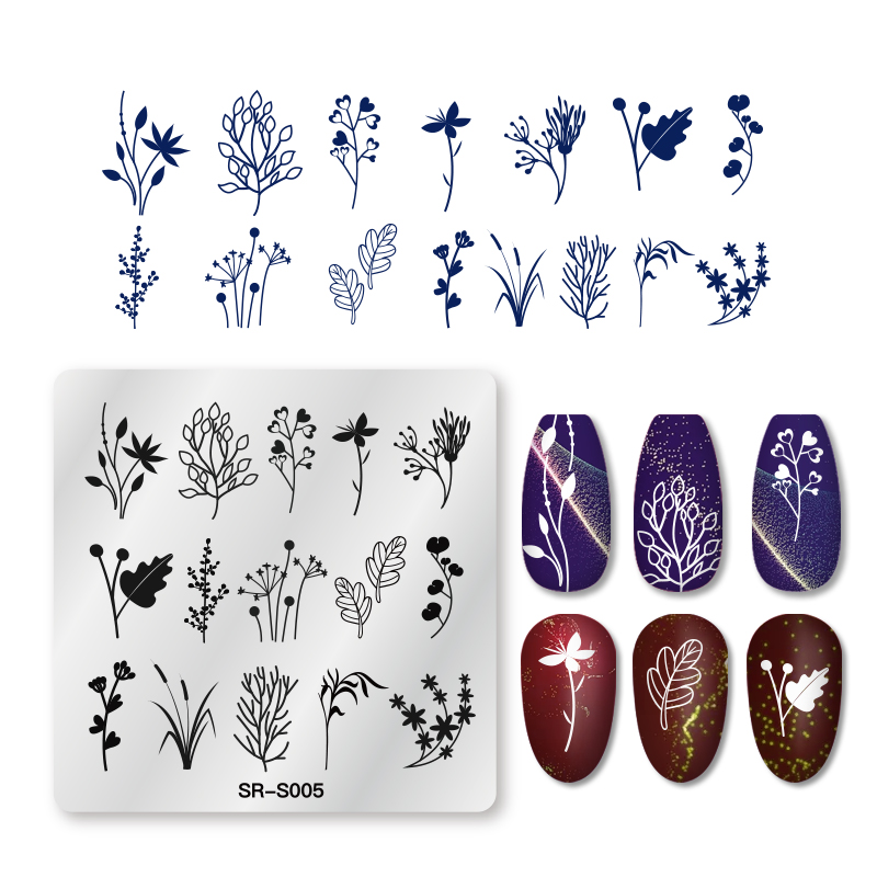 RBAN NAIL Nail Art Stamp Stamping Image Plate Plants Leaves Flower Pattern Round Rectangle Stainles Steel Nail Template Stencil