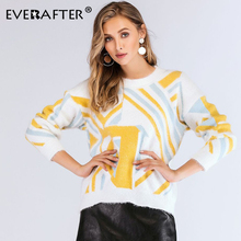 EVERAFTER Autumn Sweater Women 2019 Striped Print O-Neck Long Sleeve Knitted Sweater Fluff Casual Loose Pullover Femme Mujer New freya atlantis бикини на косточках лиф синий