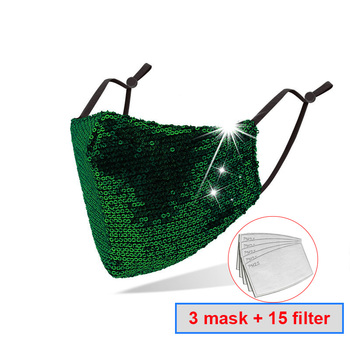 3pcs Universal Dust-Proof And Smog-Washable Mask Sequin pattern Mouth Masks for Dust Protection Face Mask Washable Earloop Mask