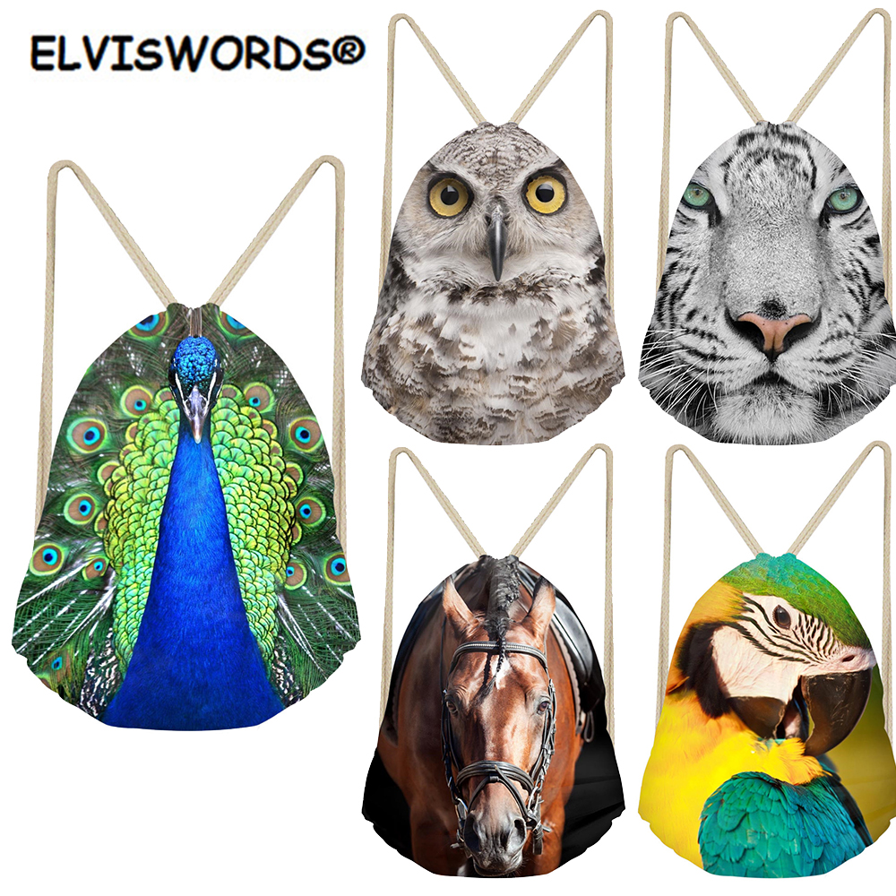 ELVISWORDS Cute Animals Print Bag Women Shopping Bags Tavel Beach Sack Bag Logo Customize Drawstring Backpacks For Teenage Girls
