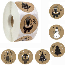 Decorative Stickers Label Gift-Box Snowman-Trees Christmas-Tags Merry Animals Black White