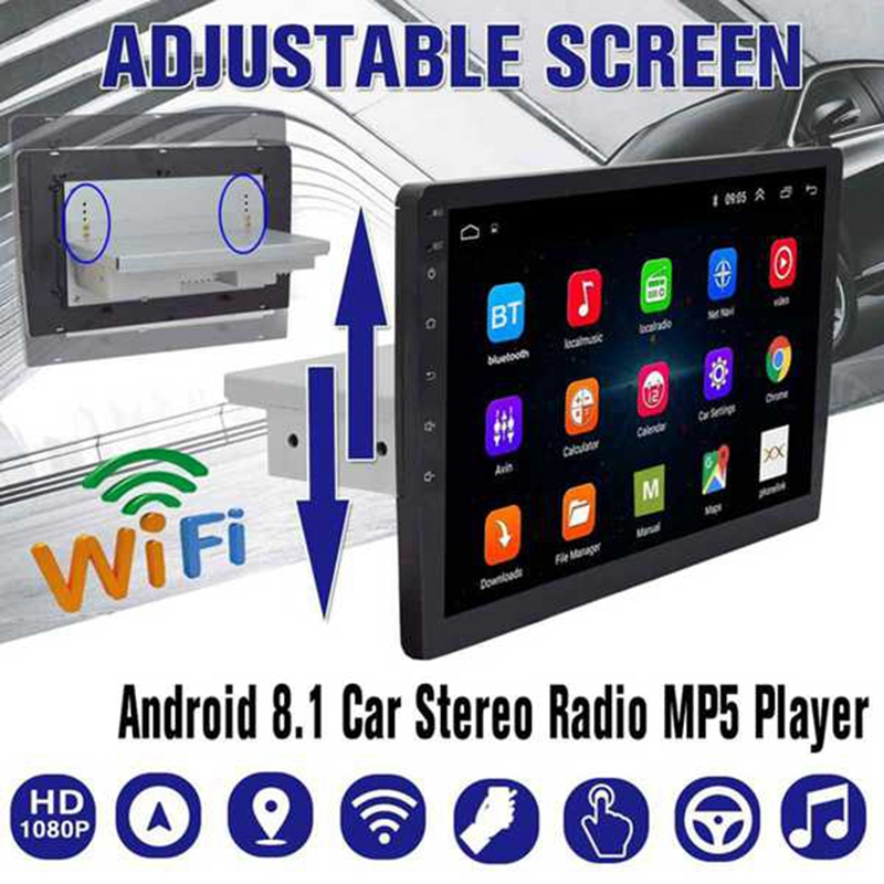 10.1 Inch Android 8.1 1 Din Car 4-Core Stereo Radio GPS Navigation WIFI Bluetooth Audio Universal Multimedia Radio Player image