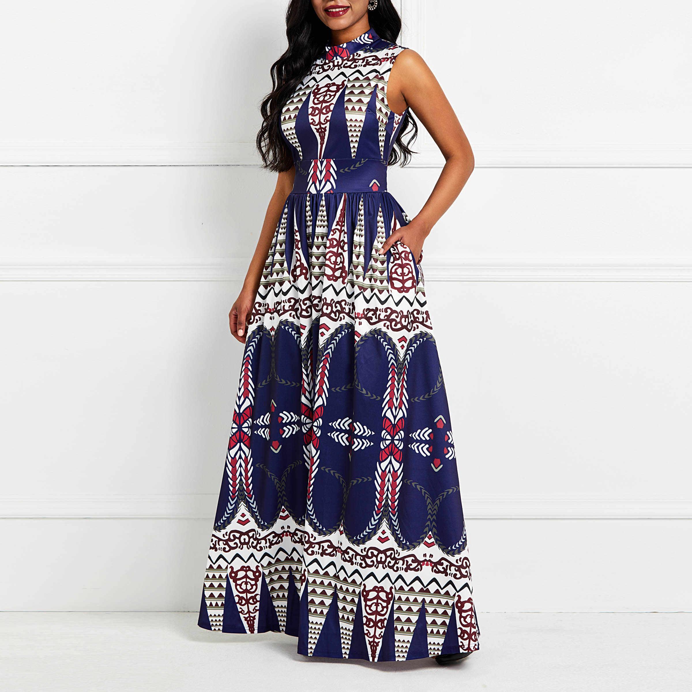 סקסי מועדון אלגנטי גבוהה מותן גדול גודל חוף בציר נשים ארוך שמלות המפלגה אתני סגנון קיץ 2019 סטרפלס כחול מקסי שמלה