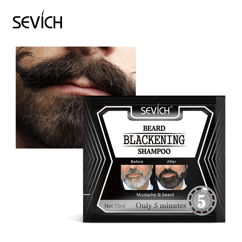 Sevich 15ml Blackening Beard Shampoo Dye Beard Into Black Only 5 Mins Herb Natural Faster Blackening Beard Coloring Grey Remov in Hair Color from Beauty Health