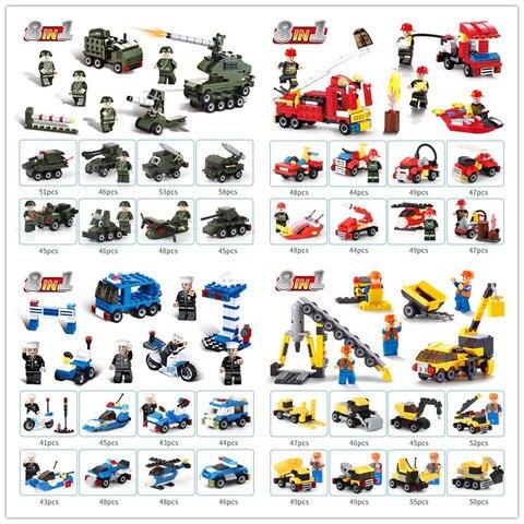 1519 pces transformacao carros de montagem construcao mini blocos tanque caminhao de bombeiros brinquedos educativos