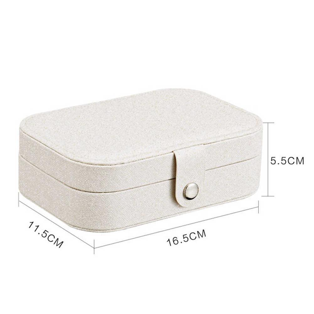 2 שכבות עמיד פו עור תכליתי עגילי צמיד אחסון מקרה נייד תכשיטים אחסון תיבת 2019