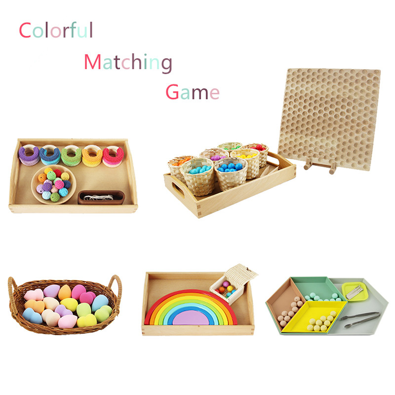 Color Sorting and Matching Game Preschool Early Educational Toys Montessori Sense Materials Preliminary Exercises Kids Toys