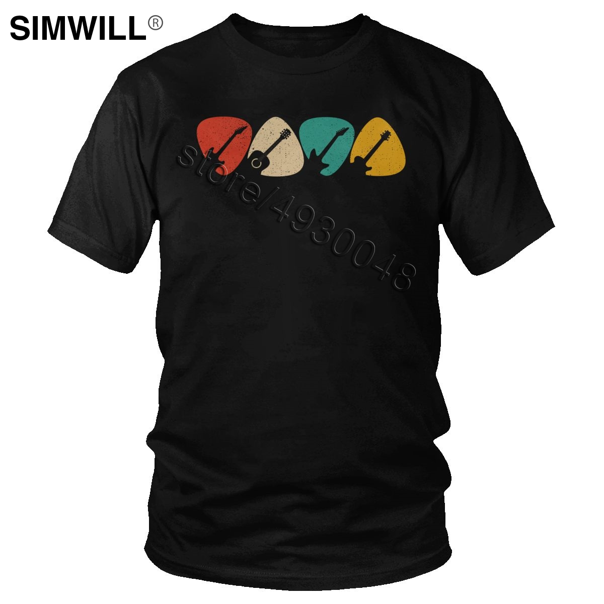 Male Guitar Pick Shirt Gift For Guitarist Retro Vintage T-Shirt Rock Musician T Shirt Men Short Sleeve Cotton Graphic Tee Tops image