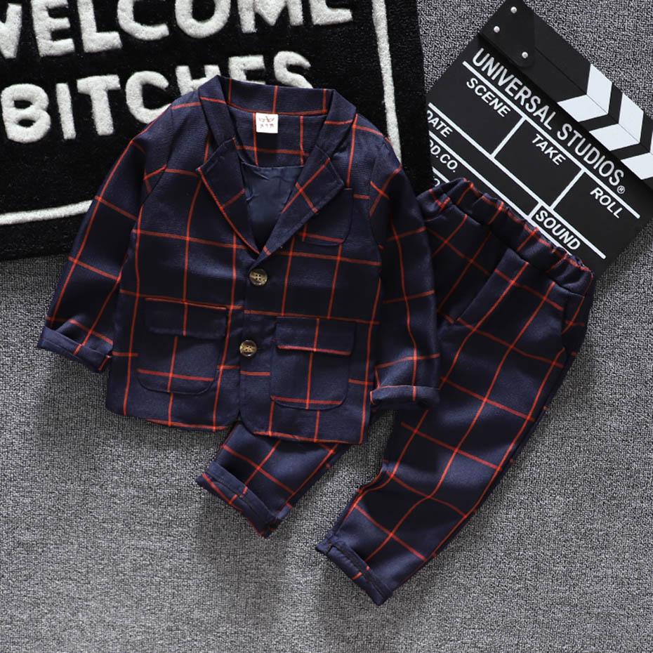 Baby Boys Clothes Plaid Coat + Pants Boy Suit Set Casual Style Boys Clothes Casual Style Toddler Kids Suit Clothes 3