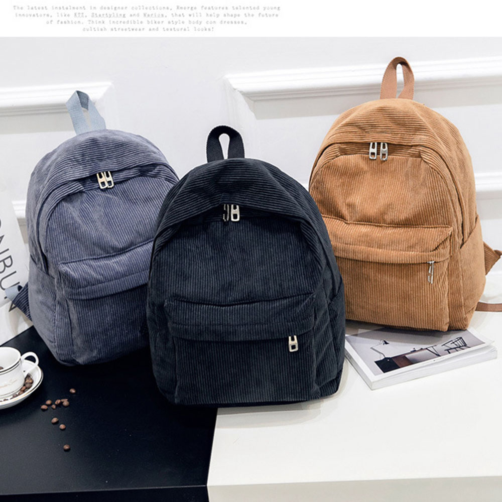 Women Backpack Preppy Style School Bags Soft Fabric Travel Backpack Corduroy Bookbag For Teenage Girls Striped Small Backpack
