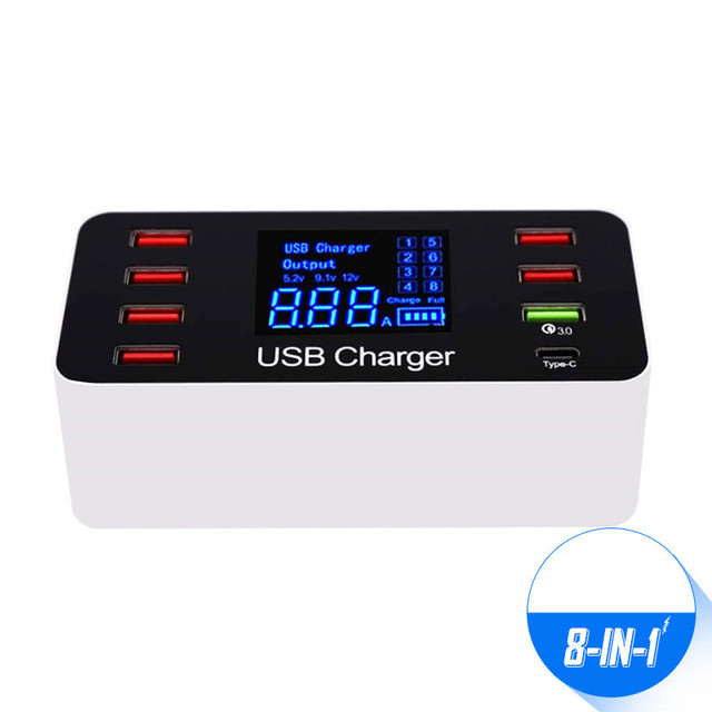 Ledディスプレイ 8 ポートマルチ高速usb充電器急速充電 3.0 複数のusb電話充電ステーションユニバーサルusbハブ充電器qc 3.0
