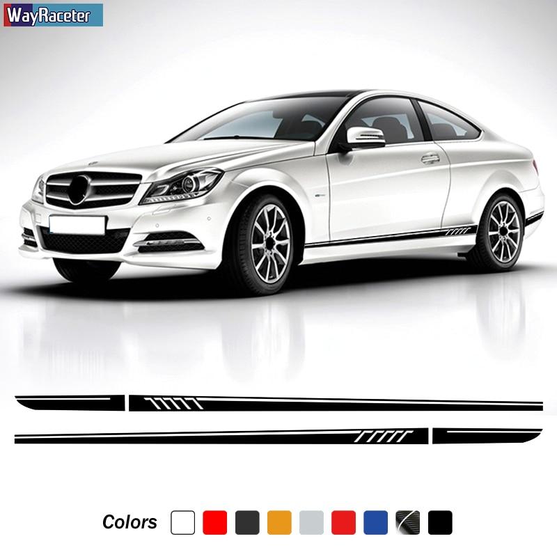 Версия 1 507 стильная наклейка на боковую дверь автомобиля в полоску наклейка на корпус для Mercedes Benz C Class W204 C63 coupe S204 AMG аксессуары