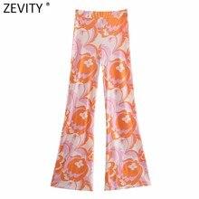 Zevity Frauen Mode Frische Farbe Totem Floral Print Slim Flare Hosen Retro Weibliche Chic Elastische Taille Sommer Lange Hosen P1118
