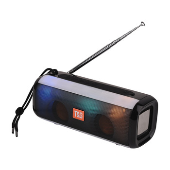 Bluetooth Speaker FMRaido Cool LED Light Portable Wireless Column With Adjustable Antenna Strong Signal Loudspeaker music center