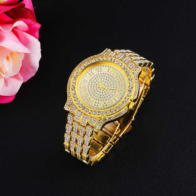 היפ הופ Mens אייס מתוך שעוני יוקרה תאריך קוורץ יד שעונים עם Micropave CZ סגסוגת שעון עבור נשים גברים תכשיטים
